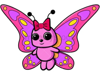 Pink butterfly with girly bow. PNG - JPG and vector EPS file formats (infinitely scalable). Image isolated on transparent background.
