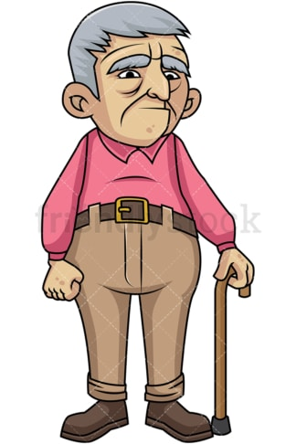 Sad old man with walking stick. PNG - JPG and vector EPS file formats (infinitely scalable). Image isolated on transparent background.