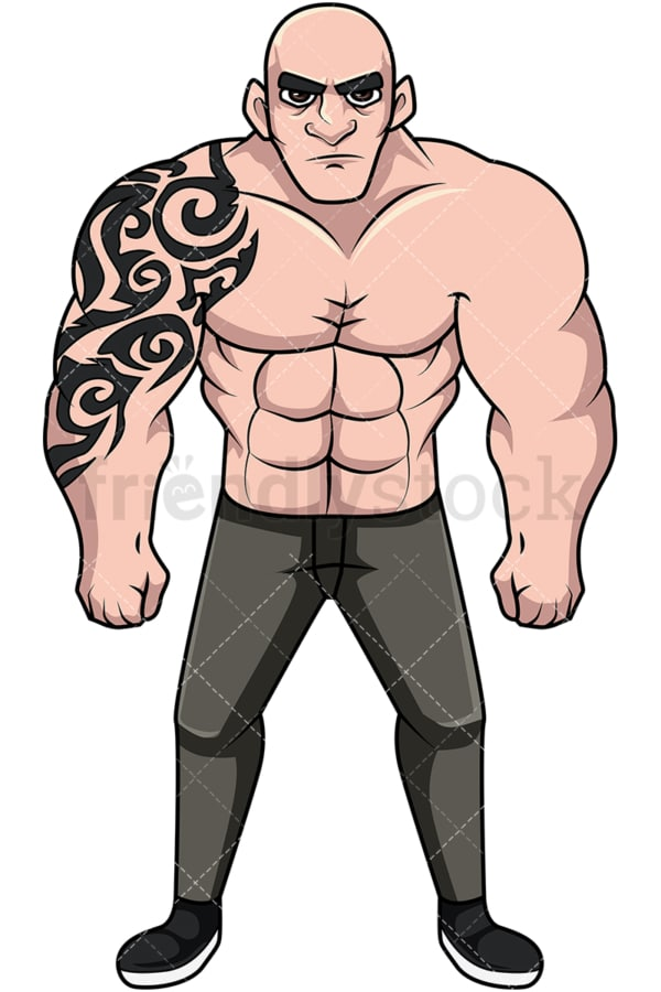 Shirtless muscular man with tattoos. PNG - JPG and vector EPS file formats (infinitely scalable). Image isolated on transparent background.
