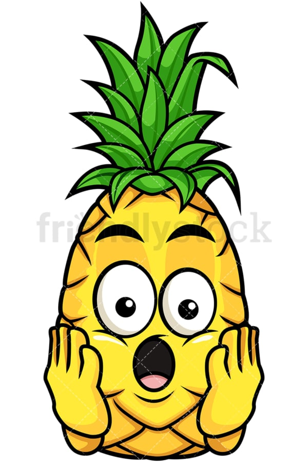Shocked pineapple. PNG - JPG and vector EPS file formats (infinitely scalable). Image isolated on transparent background.