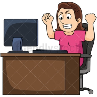 Woman angry at computer. PNG - JPG and vector EPS file formats (infinitely scalable). Image isolated on transparent background.