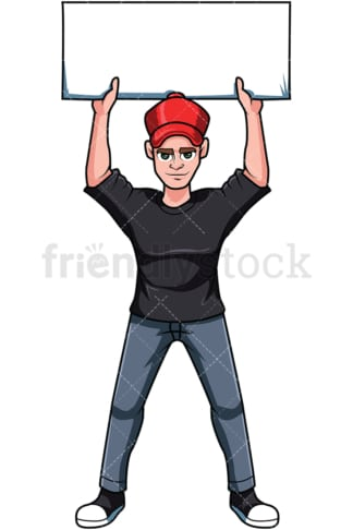 Activist in demonstration. PNG - JPG and vector EPS file formats (infinitely scalable). Image isolated on transparent background.
