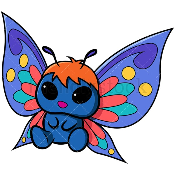 Adorable boy butterfly sitting. PNG - JPG and vector EPS file formats (infinitely scalable). Image isolated on transparent background.