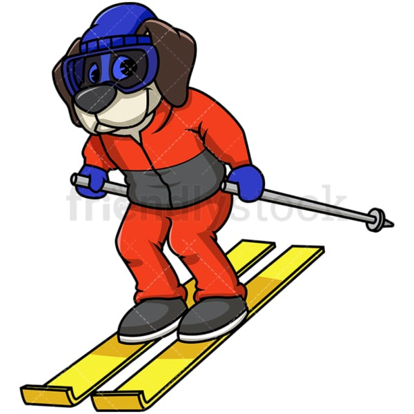 Beagle dog skiing. PNG - JPG and vector EPS file formats (infinitely scalable). Image isolated on transparent background.