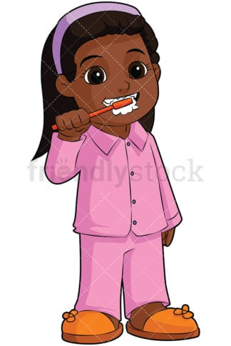 Black girl brushing teeth. PNG - JPG and vector EPS file formats (infinitely scalable). Image isolated on transparent background.