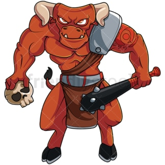 Brutal minotaur warrior. PNG - JPG and vector EPS file formats (infinitely scalable). Image isolated on transparent background.