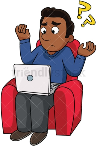 Confused black man using computer. PNG - JPG and vector EPS file formats (infinitely scalable). Image isolated on transparent background.