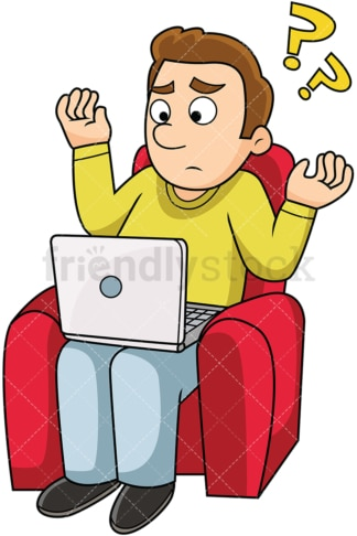 Confused man using computer. PNG - JPG and vector EPS file formats (infinitely scalable). Image isolated on transparent background.