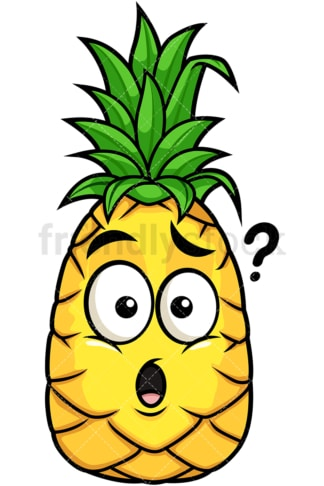 Confused pineapple. PNG - JPG and vector EPS file formats (infinitely scalable). Image isolated on transparent background.