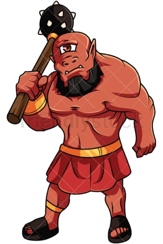 Ogre with mace. PNG - JPG and vector EPS file formats (infinitely scalable). Image isolated on transparent background.