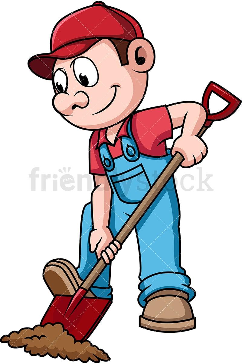 Farmer Digging The Soil Cartoon Vector Clipart Friendlystock