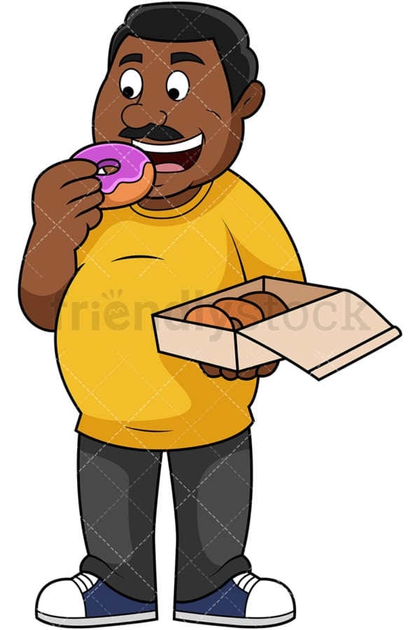 Overweight black guy eating donuts. PNG - JPG and vector EPS file formats (infinitely scalable). Image isolated on transparent background.