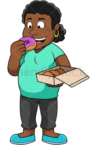 Overweight black woman eating donuts. PNG - JPG and vector EPS file formats (infinitely scalable). Image isolated on transparent background.
