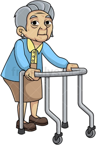 Feeble old woman with walker. PNG - JPG and vector EPS file formats (infinitely scalable). Image isolated on transparent background.