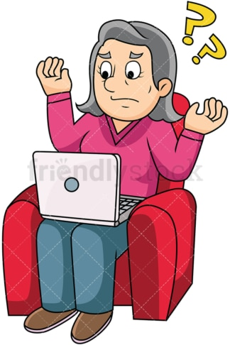 Old woman confused by computer. PNG - JPG and vector EPS file formats (infinitely scalable). Image isolated on transparent background.