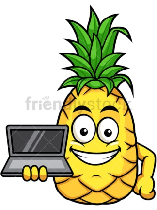 Pineapple showcasing laptop. PNG - JPG and vector EPS file formats (infinitely scalable). Image isolated on transparent background.