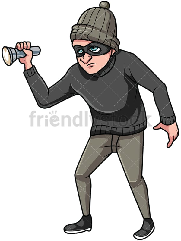 Thief holding flashlight. PNG - JPG and vector EPS file formats (infinitely scalable). Image isolated on transparent background.