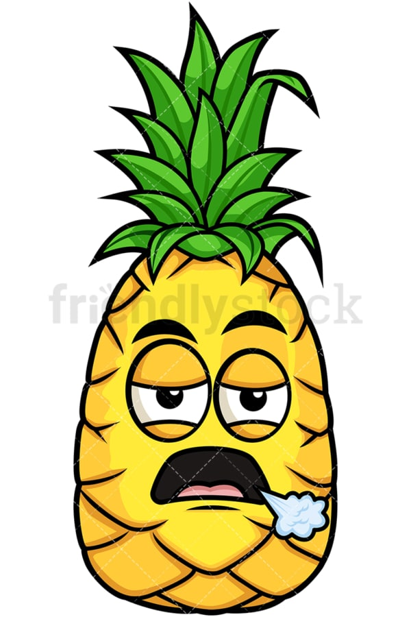 Bored pineapple. PNG - JPG and vector EPS file formats (infinitely scalable). Image isolated on transparent background.