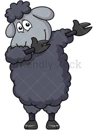 Dabbing black sheep. PNG - JPG and vector EPS file formats (infinitely scalable). Image isolated on transparent background.