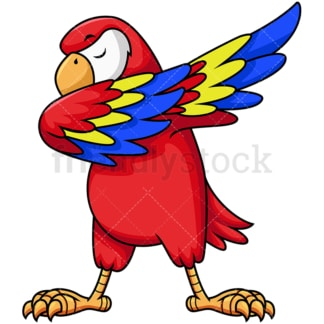 Dabbing parrot. PNG - JPG and vector EPS file formats (infinitely scalable). Image isolated on transparent background.