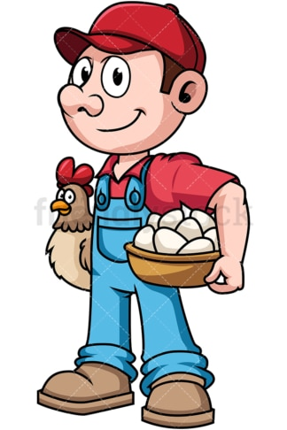 Farmer holding hen and eggs. PNG - JPG and vector EPS file formats (infinitely scalable). Image isolated on transparent background.