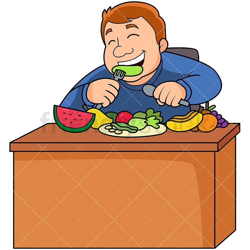 Fat Man Eating Healthy Fruits Veggies Cartoon Vector ...