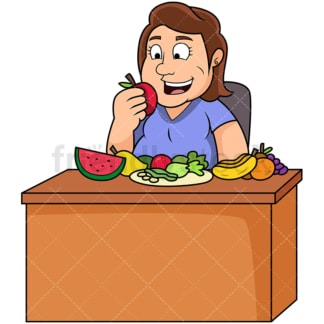 Overweight woman eating healthy foods. PNG - JPG and vector EPS file formats (infinitely scalable). Image isolated on transparent background.