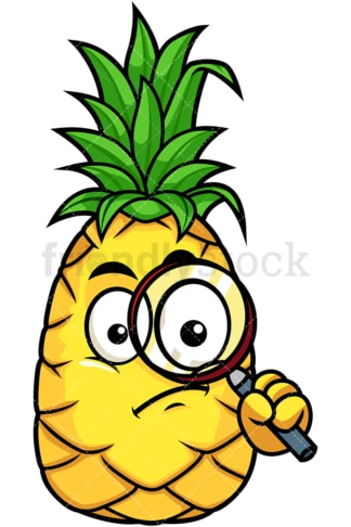 Pineapple holding magnifying glass. PNG - JPG and vector EPS file formats (infinitely scalable). Image isolated on transparent background.