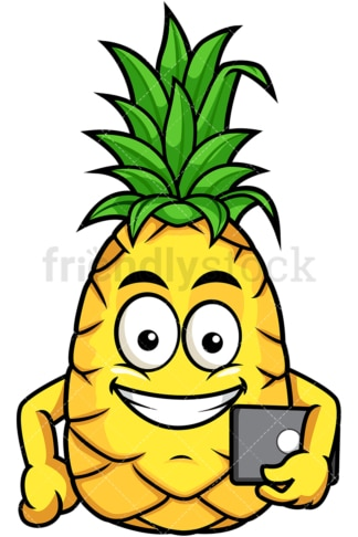 Pineapple holding tablet. PNG - JPG and vector EPS file formats (infinitely scalable). Image isolated on transparent background.