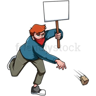 Protesting man throwing rock. PNG - JPG and vector EPS file formats (infinitely scalable). Image isolated on transparent background.