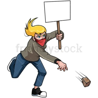 Protesting woman throwing rock. PNG - JPG and vector EPS file formats (infinitely scalable). Image isolated on transparent background.