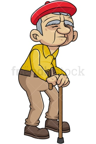 Weak old guy with walking stick. PNG - JPG and vector EPS file formats (infinitely scalable). Image isolated on transparent background.