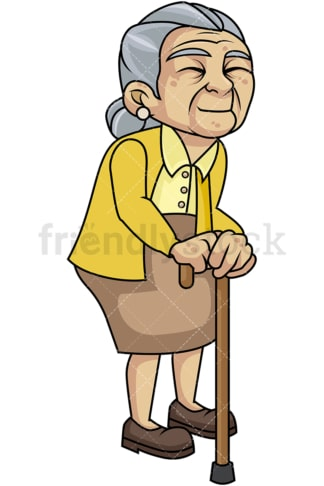 Weak old woman with walking stick. PNG - JPG and vector EPS file formats (infinitely scalable). Image isolated on transparent background.