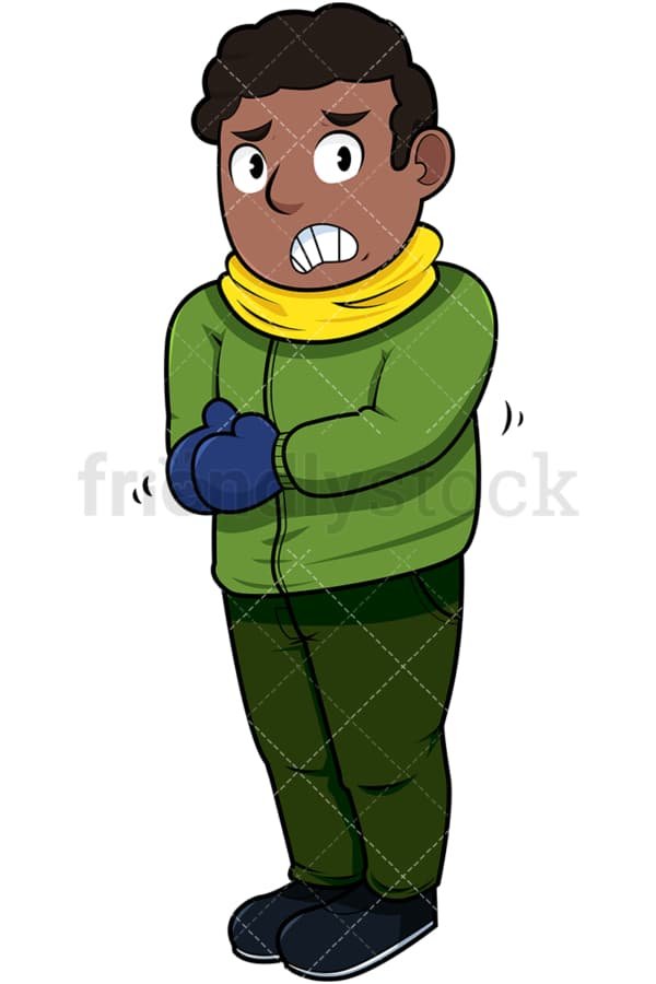 Black man trembling with cold. PNG - JPG and vector EPS file formats (infinitely scalable). Image isolated on transparent background.