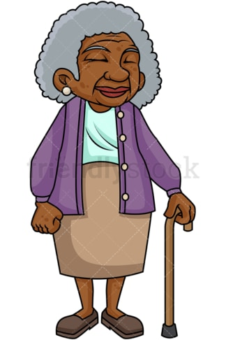 Black old woman with walking stick. PNG - JPG and vector EPS file formats (infinitely scalable). Image isolated on transparent background.