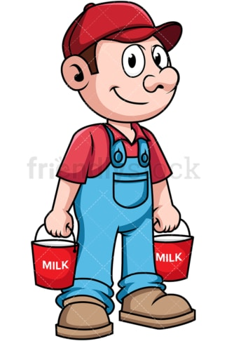 Farmer carrying buckets of milk. PNG - JPG and vector EPS file formats (infinitely scalable). Image isolated on transparent background.