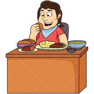 Overweight woman eating a lot of food. PNG - JPG and vector EPS file formats (infinitely scalable). Image isolated on transparent background.