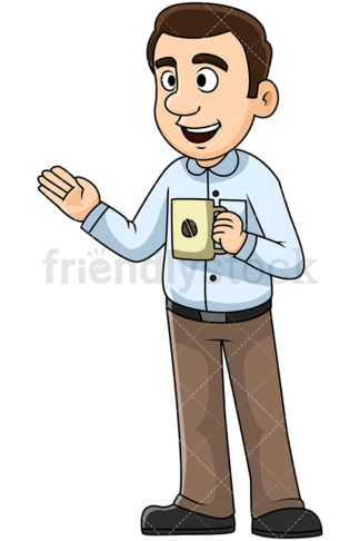 Man talking over coffee. PNG - JPG and vector EPS file formats (infinitely scalable). Image isolated on transparent background.