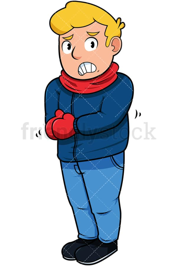 Man trembling with cold. PNG - JPG and vector EPS file formats (infinitely scalable). Image isolated on transparent background.