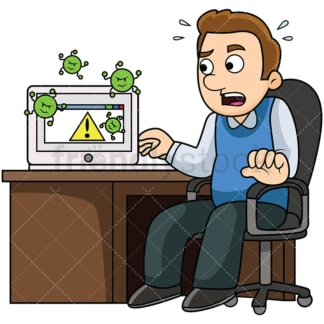 Man with virus infected computer. PNG - JPG and vector EPS file formats (infinitely scalable). Image isolated on transparent background.
