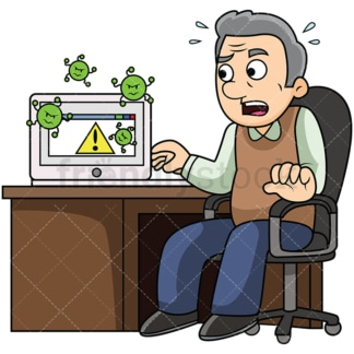 Old man with malware infected computer. PNG - JPG and vector EPS file formats (infinitely scalable). Image isolated on transparent background.