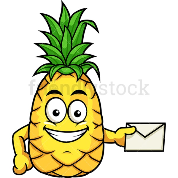 Pineapple holding mail envelope. PNG - JPG and vector EPS file formats (infinitely scalable). Image isolated on transparent background.