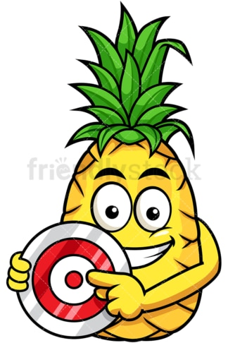 Pineapple pointing to red target. PNG - JPG and vector EPS file formats (infinitely scalable). Image isolated on transparent background.
