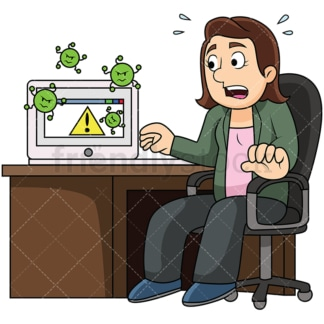 Woman with virus infected computer. PNG - JPG and vector EPS file formats (infinitely scalable). Image isolated on transparent background.