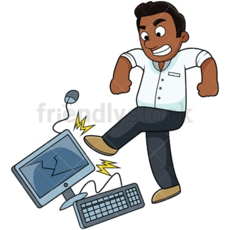Angry black man kicking computer. PNG - JPG and vector EPS file formats (infinitely scalable). Image isolated on transparent background.