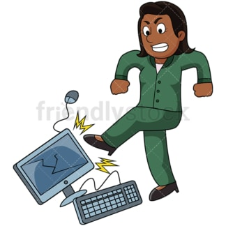 Angry black woman kicking computer. PNG - JPG and vector EPS file formats (infinitely scalable). Image isolated on transparent background.