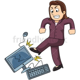 Angry business woman kicking computer. PNG - JPG and vector EPS file formats (infinitely scalable). Image isolated on transparent background.