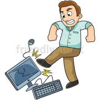 Angry man kicking computer. PNG - JPG and vector EPS file formats (infinitely scalable). Image isolated on transparent background.