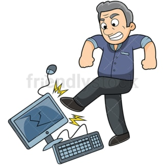 Angry old man kicking computer. PNG - JPG and vector EPS file formats (infinitely scalable). Image isolated on transparent background.