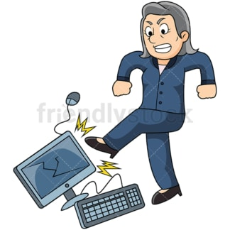 Angry old woman kicking computer. PNG - JPG and vector EPS file formats (infinitely scalable). Image isolated on transparent background.